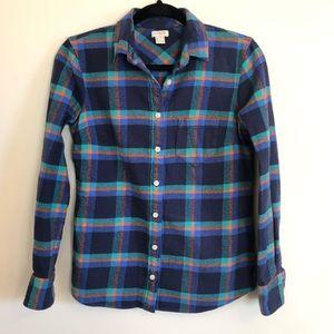 J Crew Thick 100% Cotton Blue Plaid Flannel Shirt